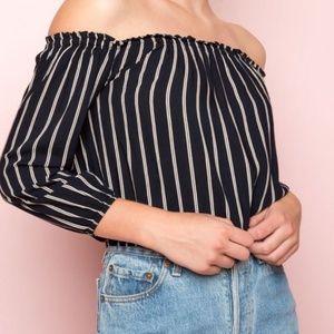 Brandy Melville / Maura Stripe Off Shoulder Top